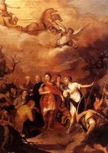 Alegoría triunfal de Carlos III entregando tierras a labradores de Sierra Morena